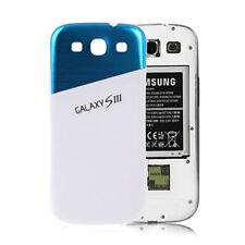 Aluminium Akku Deckel Samsung Galaxy S3 i9300 Alu Case-Cover Blau-Weiß