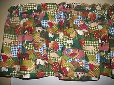 Country Farm Kitchen Cows Horses Pig Rooster Chicken fabric curtain Valance