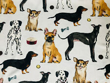 DOG BREEDS Animal Print Pattern Fabric Cotton Chihuahua Pet Material 135 cm Wide