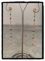 Boucles d'oreilles Pendantes Pierres émail Multicolores et Plaqué or 18 Carats
