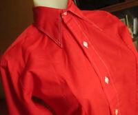 XS True Vtg 70s WARDS CHERRY RED ULTRA THIN THIN BIG COLLAR MOD TOP BOys 12