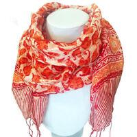 Foulard rouge en Soie motifs batiks Indonésien