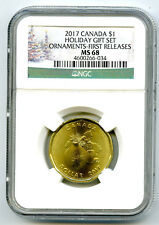 2017 CANADA $1 HOLIDAY ORNAMENTS LOON NGC MS68 FIRST RELEASES LOONIE TOP POP=6