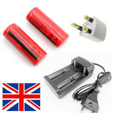2x 3.7V 6000mAh Li-ion Lithium 26650 Replacement Rechargeable Battery + Charger