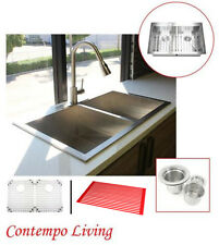 "33"" Stainless Steel Double Bowl Topmount Drop In Zero Radius Kitchen Sink Combo"
