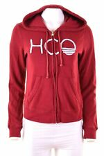 HOLLISTER Womens Hoodie Sweater Size 10 Small Burgundy Cotton Loose Fit  BB03
