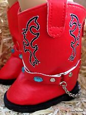 """RED Western Jewel Studded Cowboy BOOTS SHOES fits 18"""" AMERICAN GIRL Doll Clothes"""