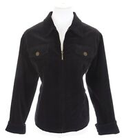 Coldwater Creek Black Velvet Full Zip Up Lined Blazer Jacket Women Sz L