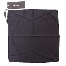 NEW DOLCE & GABBANA Handkerchief Black Silk Pochette Square Pocket 30cm x 30cm