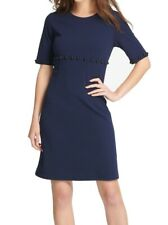 DKNY Womens Dress Navy Blue Size 2 Sheath Stud Embellish Crewneck $119- 231
