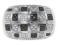 15mm Domed Fashion Band Ring 0.20 ct White Gold Finish Mens Black White Diamond