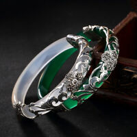 S925 Sterling Silver Bracelet Women Chalcedony Jade openable bangle Fine Jewelry