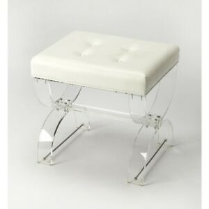Butler Morena Acrylic Vanity Stool, White - 3739335