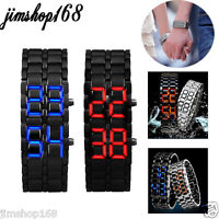 2x Lava Style Iron Samurai Black Bracelet LED Japanese Inspired Watch RED / BLUE