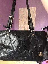 Ladies Genuine Vivienne Westwood Real Leather Black Squiggle Bag Excellent