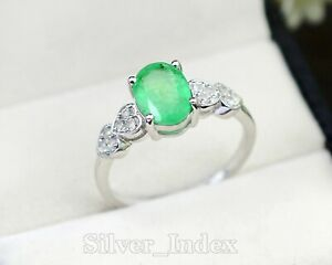 Solid 925 Sterling Silver Zambian Emerald Natural Gemstone Wedding Ring For Her
