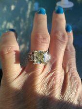 cut Mossianite ring size 6 4.22 carat Canary yellow Princess