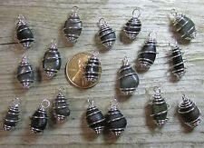 25 Tiny Charcoal/Black/Dark Beach Pebbles- Natural Water Polished Charms/Dangles