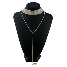 Vintage Women Full Diamond Rhinestone Crystal Choker Necklace Wedding Jewelry