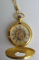 NEU Herren Taschenuhr Edelstahl Handaufzug Gold Skelett Herrenuhr Uhr