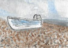 ACEO/ATC - Original Watercolour Painting - Beached #Boat #Seascape #Beach