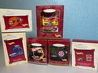 Hallmark Hot Wheels Assorted Ornaments - Lot Of 6 (Years 1998 - 2004) NIB