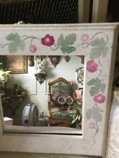 French Style Flower Roses Painted Mirror  Shabby Chic White Pink