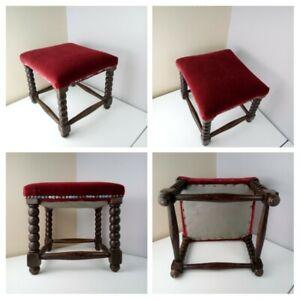 ANTIQUE VINTAGE FOOTSTOOL SEAT Walnut Wood Upholstered Cushioned Red Velvet Top