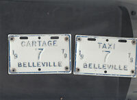 "ONTARIO, Belleville 1979 license plate ""7"" *TAXI/CARTAGE***MATCHED PLATE # SET*"