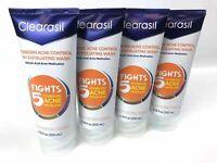 Lot of 4 Clearasil Weekly Face Scrub Acne Control 5 in 1 Salicylic Acid 6.78 oz