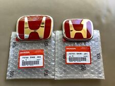 2pcs Honda Civic Sedan 4Dr 06-15 Red JDM H Front Rear Type R emblem grille set