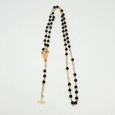 Collana rosario in oro giallo 18 Kt 750 con onice -1353/ST-