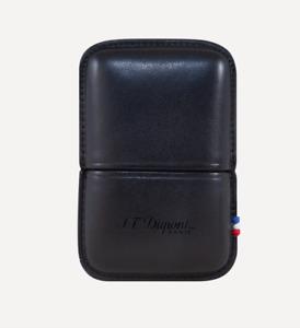Neu ST Dupont Ligne 2 Zigarettenanzünder Schwarz Ledertasche Halter Luxus 183070