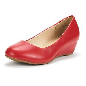 Women's Suede/PU Mid Wedge Heel Pump Slip On Round Toe Comfort Pump Shoes 5-11
