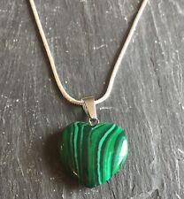 Natural Malachite Heart Pendant with Sterling Silver Chain