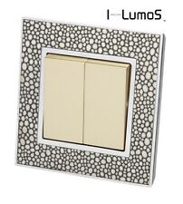 I LumoS AS Pearl Leather & Gold 13A UK Single/Double Sockets & Light Switches