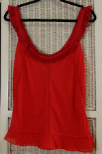 "TED BAKER Red Silk Camisole Ted Size 4/L Blouson Top 40"" Bust Pleated Satin Trim"