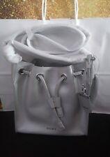 DKNY crosshatch Saffiano Leather Crossbody Shoulder Bag bucket handbag silver