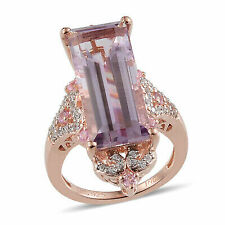 Pink Amethyst Rose Gold Over Silver Big Bold for Women Ring 2 Cttw Size 11 -st