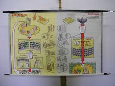 School Wall Map Mural Beautiful Old democracy dictatorship comparison 115x75cm ~ 1960