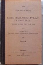 RARE- NSW RULES, REGULATIONS, BY-LAWS, ORDINANCES 1939