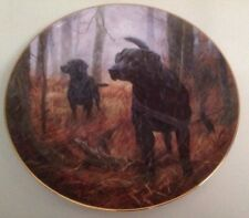 LE The Franklin Mint Black Labrador Plate Hot on the Trail by John Trickett BN