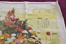 torchon calendrier année 2002 - décor bouquet de fleurs - 100% coton - BE
