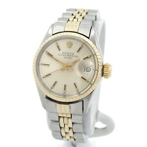 ROLEX PREPETUAL DATEJUST 18K YELLOW GOLD STAINLESS STEEL WRIST WATCH #W1205-7