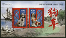 Aland 2017 MNH China Dogs 2v M/S Year of Dog 2018 Chinese Lunar New Year Stamps