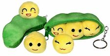 "4"" Mini Peas in Pod Plush Keychains - 2 pcs Stuffed Toys with Emoji Smiley Beans"