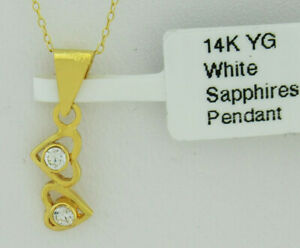 WHITE SAPPHIRES PENDANT 14k YELLOW GOLD ** New With Tag in Box ** FREE CHAIN **