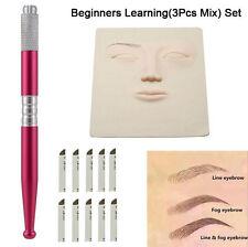 3Pcs Microblading Permanent Makeup Eyebrow Tattoo Practice Skin 3D Training Set