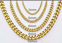 Women Mens Stainless Steel Necklace Curb Gold Chain Bracelet Lobster clasp
