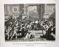 Révolution Française 1789 Hôtel de Ville de Paris Rare Gravure Flesselles Prévôt